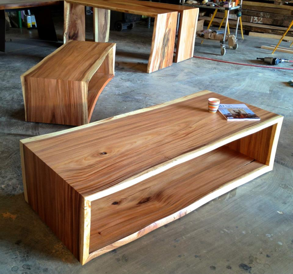 Monkeypod full waterfall raw edge coffee tables and consoles