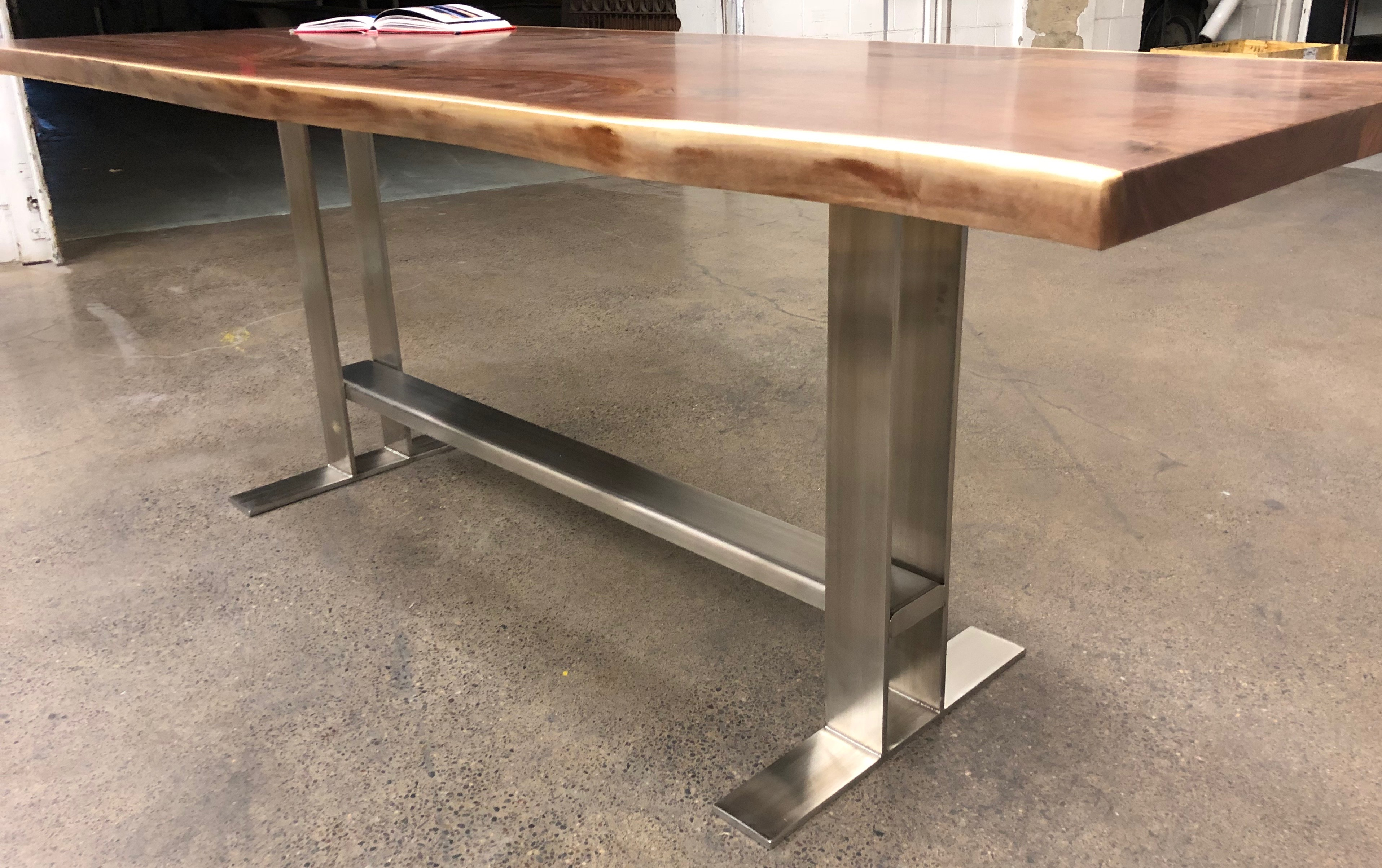 Walnut Bar Height Kitchen Table With Stainless Steel Trestle Base Bjorling Grant