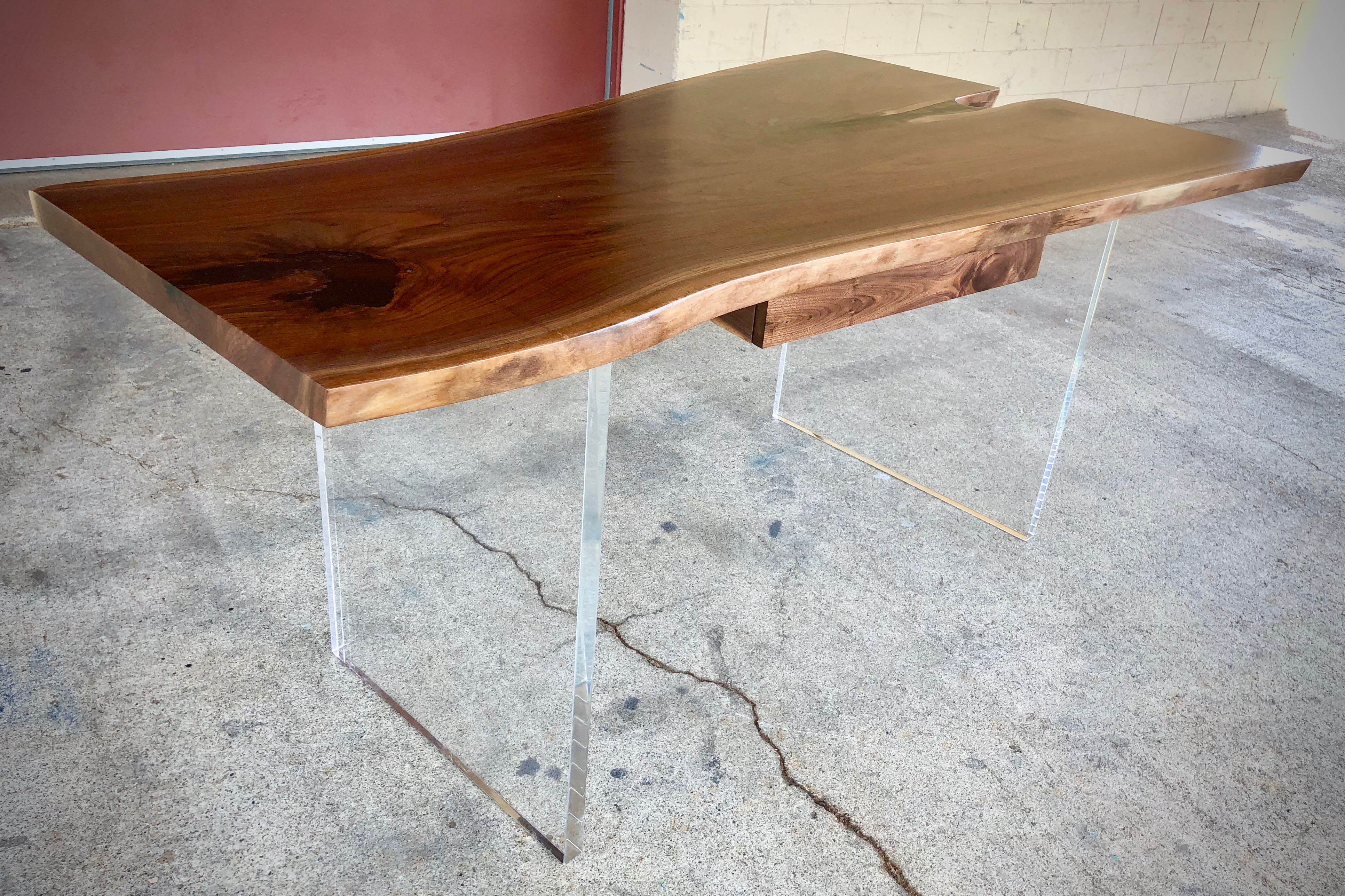 Walnut Slab Desk With Lucite Legs And Drawer Bjorling Grant