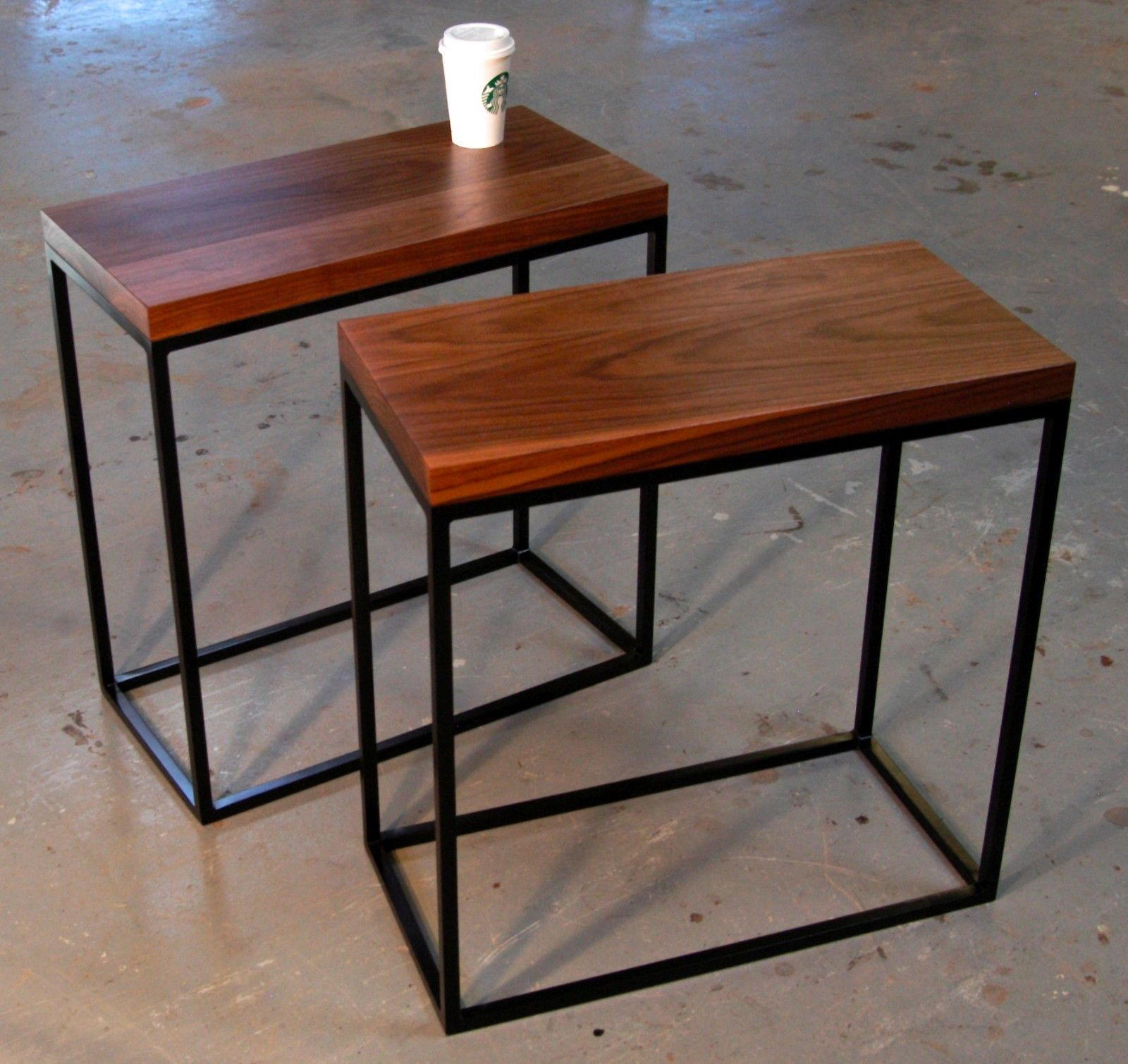 Superb Skinny Walnut And Square Tube Side Tables Bjorling Grant Ibusinesslaw Wood Chair Design Ideas Ibusinesslaworg