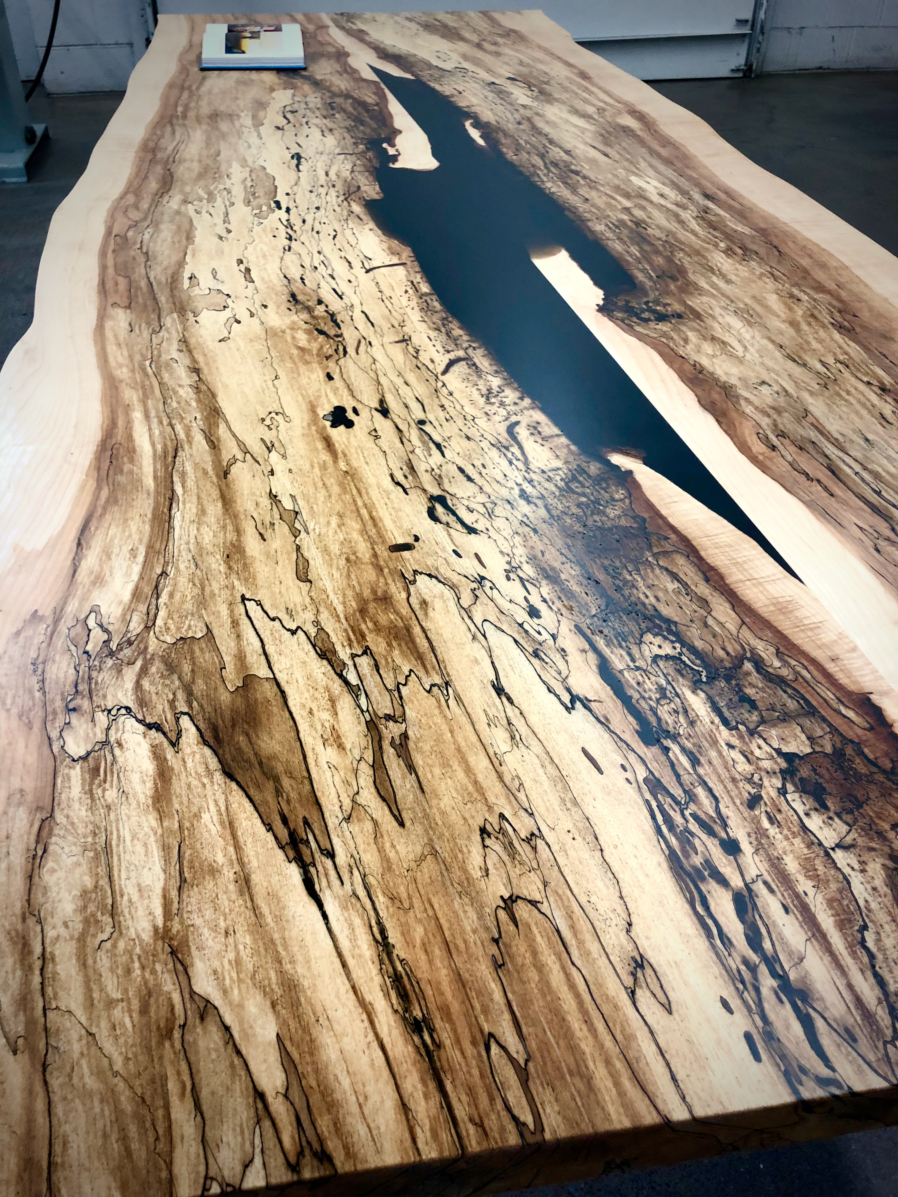Spalted Maple Dining Table With Bent Steel U Legs