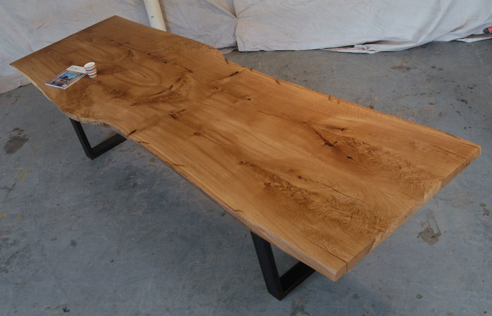 Bookmatched White Oak Dining Table With Steel U Legs